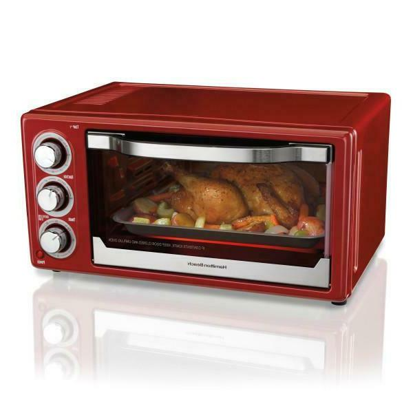 6 slice toaster convection broiler oven red
