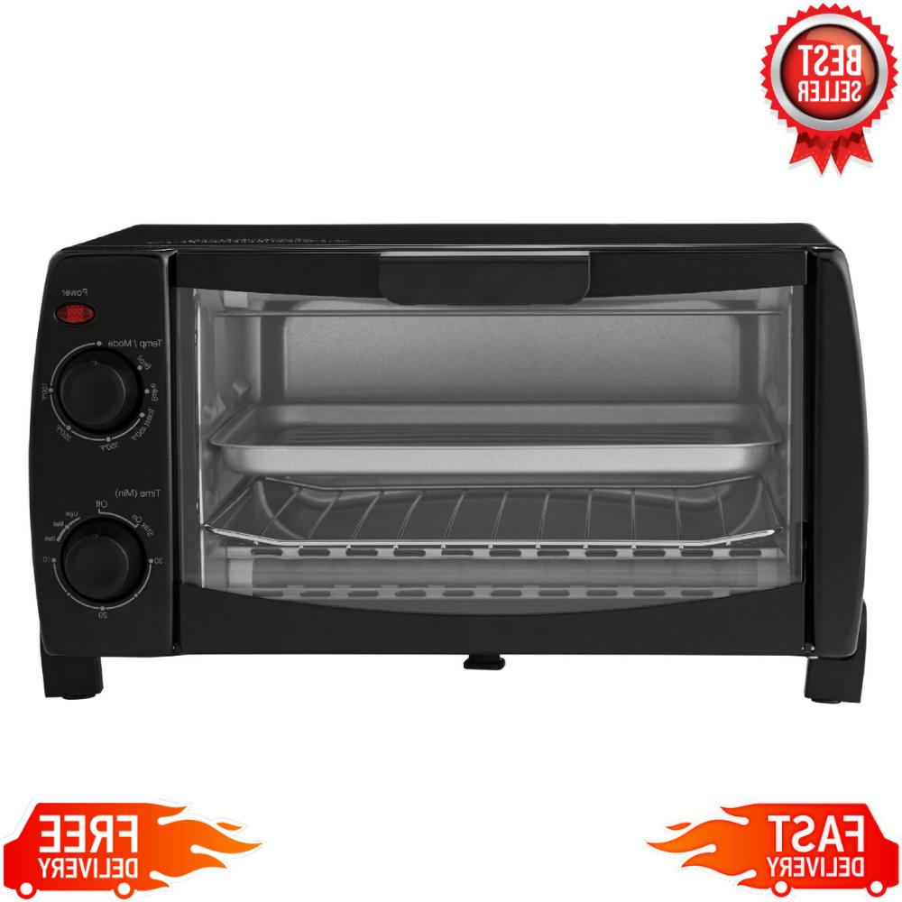 Toaster Oven Convection 4 Slice Black With Dishwasher-Safe R