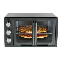 NEW OSTER METALLIC/CHARCOAL FRENCH DOOR TURBO CONVECTION OVE